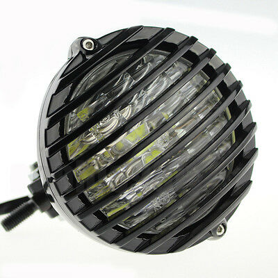 """Black 5 3//8/"""" Motorcycle Scalloped Finned Grill LED Headlight Sportster XS650 XL"""
