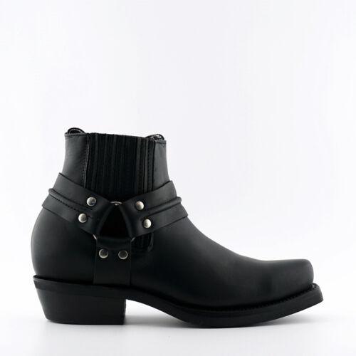 Grinders Renegade Lo Black Leather Boots Cowboy Western Biker Boots