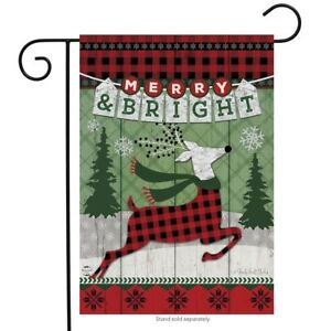 Merry-amp-Bright-Reindeer-Christmas-Garden-Flag-Primitive-Holiday-12-5-034-x-18-034