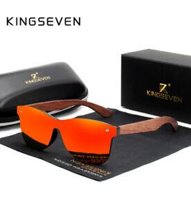 Original KINGSEVEN Sonnenbrille mit Zubehör rot Bambus Holz Polarisiert NEU