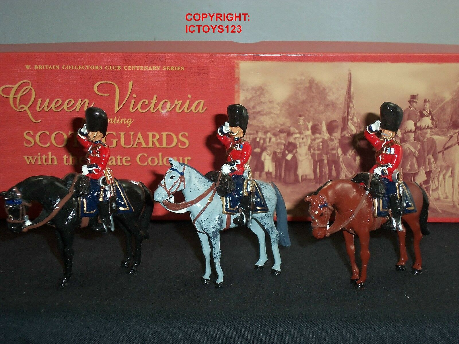 BRITAINS 40208 SCOTS GUARDS SENIOR OFFICERS OFFICERS OFFICERS MOUNTED METAL TOY SOLDIER FIGURE SET c828c8