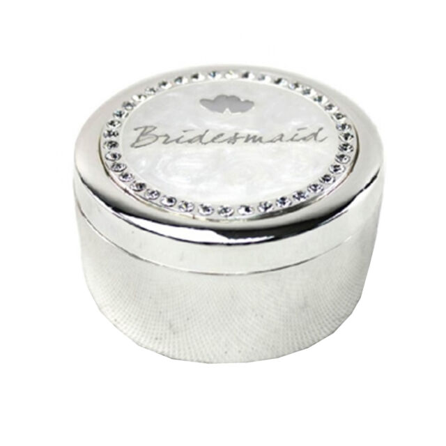 Wedding Thank you Gift Round Trinket Box with Diamantes - Bridesmaid