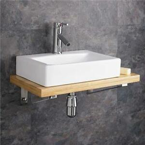 bathroom sink shelves wall mounted wooden shelf white ceramic rectangular sink 11406