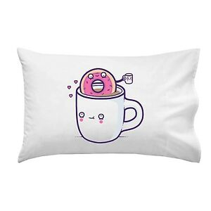Coffee-With-Friends-Mug-amp-Donut-Drink-Brew-Together-Single-Pillow-Case-Soft-New