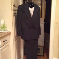 Dark Grey Striped Double Breasted Mens Suit - Size 43R