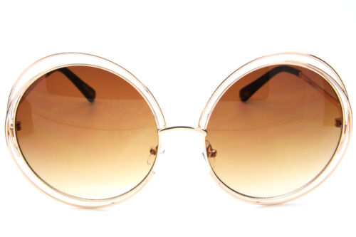Groß Rund Überdimensional Doppel Kabel Hutkrempe Sonnenbrille Metallrahmen Retro