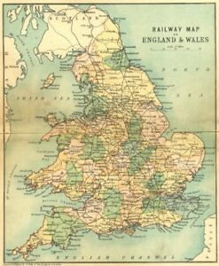 Map Of England Rail.England Wales Rail Map Philip 1898 Old Antique Vintage Plan Chart