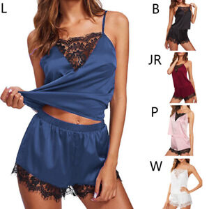 Women-Sleepwear-Set-Satin-Silk-Lingerie-Chemise-Nightwear-Pajamas-Cami-Shorts-US