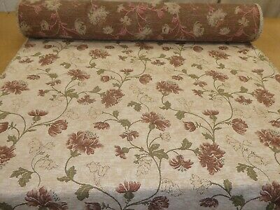 New Floral Pattern Beige Colour Textured Chenille Upholstery Fabric ZZ150616-29