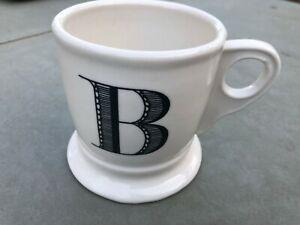 ANTHROPOLOGIE Monogram Initial Letter B Coffee Tea Cup Ceramic Mug