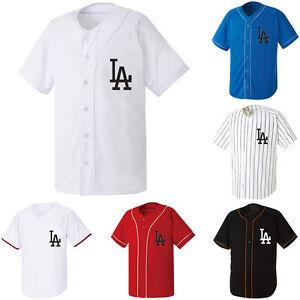 LA Los Angeles Dodgers Baseball Slim Jersey Open T-shirts Sports ... fb0bb3a92e4