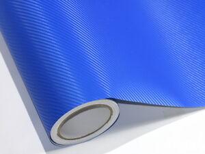 3D Blau Metallic Carbonfolie 500 cm x 152 cm Blasenfrei Luftkanäle D34