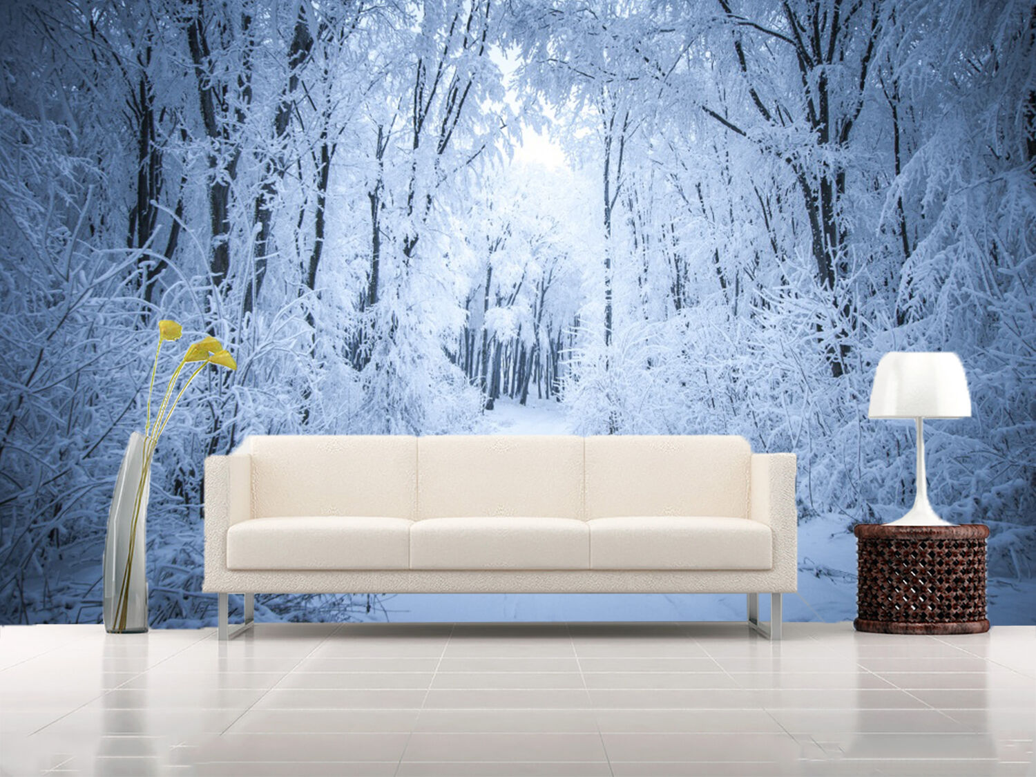 3D snow forest Weiß Wall Paper wall Print Decal Wall Deco Indoor wall Mural