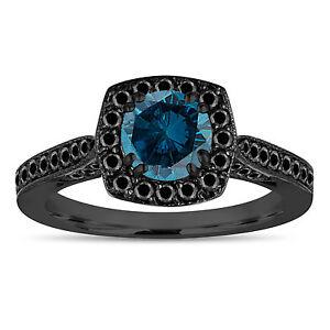 1 16 Carat Enhanced Blue Diamond Engagement Ring 14k Black Gold Vintage Style Ebay