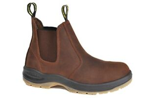 Work Zone Brown 6 Quot Elastic Pull On Full Grain Leather Boot