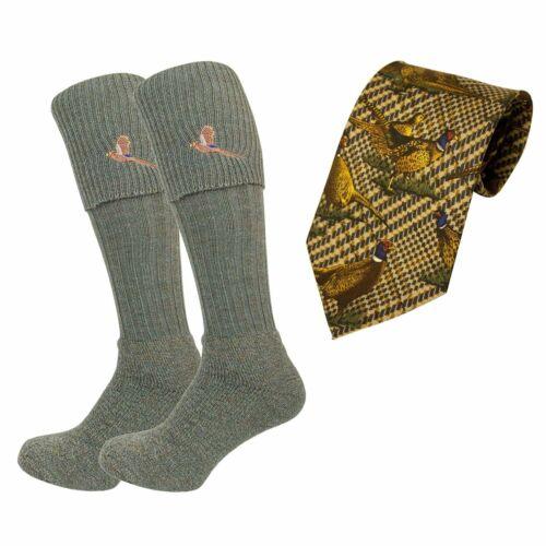 Bisley Socks Tie set Embroidered pheasant Breeks traditional shooting sock