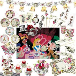 Alice-In-Wonderland-Mad-hidrargirosis-Vintage-Tea-Party-Tazas-Platos-Fiesta-Decoracion-De-Mesa