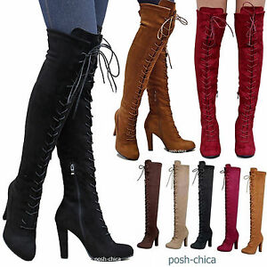 Details about New Women DA14 Stretchy Lace Up Over the Knee Thigh High  Combat Heel Boot 5.5-10 d829d557b6