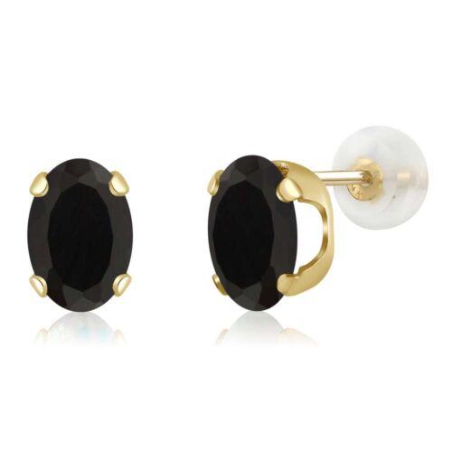 14K Yellow Gold 1.60 Ct Oval 7x5mm Black Onyx Stud Earrings
