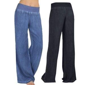Mujer-Cintura-Alta-Elasticidad-Vaqueros-Pantalones-Pernera-Ancha-Largo-Nuevo