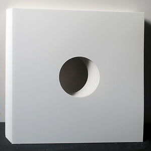 50x-White-12-034-LP-Card-Sleeves-with-Hole-Single-Vinyl-NEW