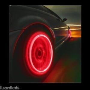 4x Red Led Tire Valve Stem Covers Caps Led Non Flashing