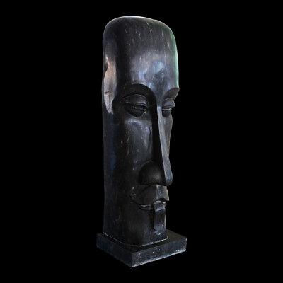 Energetic Scultura Stile Moai Marmo Nero Sicila Italian Black Marble Sculpture H.100cm