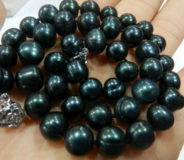 NEW GENUINE 8-9MM BLACK GREEN NATURAL TAHITIAN PEARL NECKLACE 18""