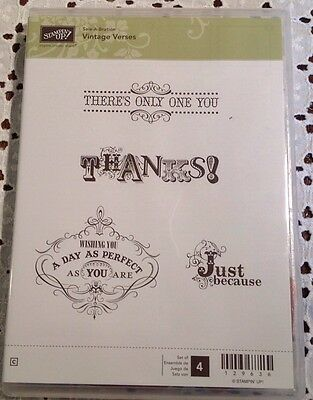 Stampin up Vintage Verses set/4 clear mount rubber stamps Just because thanks