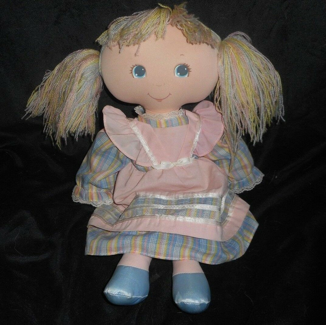 16  VINTAGE 1984 AMTOY PASTEL HAIR PINK DRESS DOLL STUFFED ANIMAL PLUSH TOY