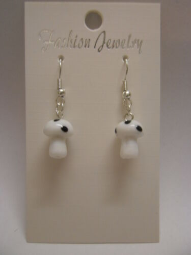 Lampwork Glass Fairy Toadstool Mushroom Earrings 925 Silver Wires Clip On