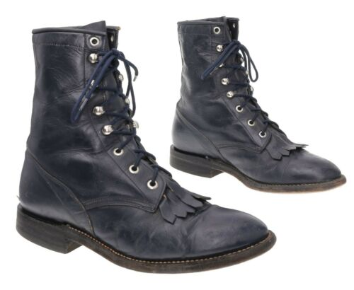 COWTOWN Cowboy Boots 7.5 D Mens Black Leather Pack
