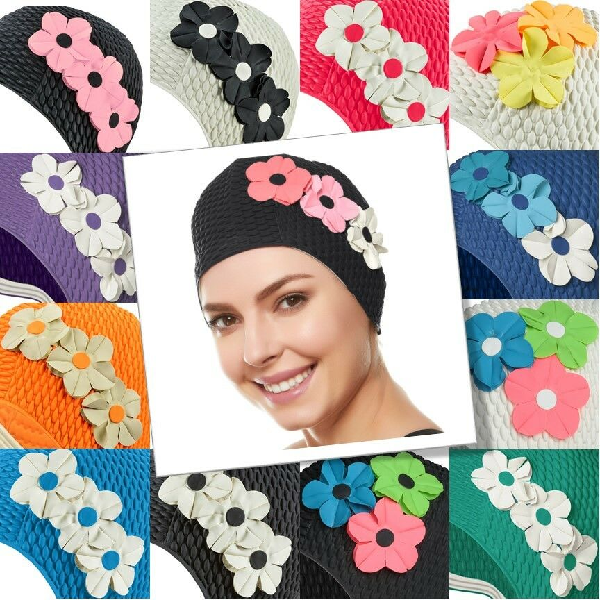5c73c6f7e4e Beemo Swim Bathing Caps for Women & Girls - Pink With White Flowers for  sale online   eBay