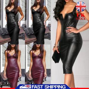 Womens-Wet-Look-Leather-PVC-Dress-Plus-Size-Sexy-Lady-Bodycon-Bandage-Clubwear