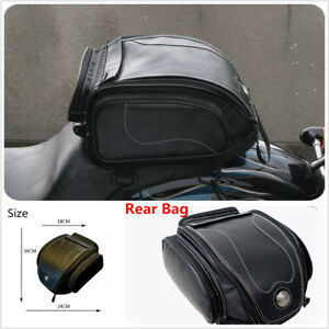 Double Stitched Black PU Leather Telescopic Motorcycle ATV Scooter Rear Back Seat Luggage Travel Tail Bag Box with Waterproof Rain Cover Toolkit Design Internal support Bezel Universal Fine Lines