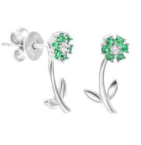 925-Sterling-Silver-Green-Emerald-White-Cz-Flower-Stud-Earrings