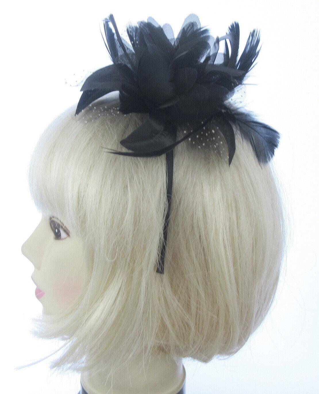 fascinator black flower/feather on headband weddings, races, ladies day,prom UK