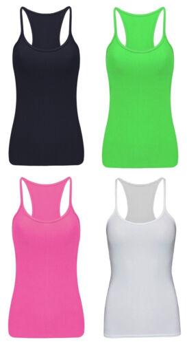 Girls Plain Sleeveless T-Shirt Vest Summer Razor Back Top Ages 5-12