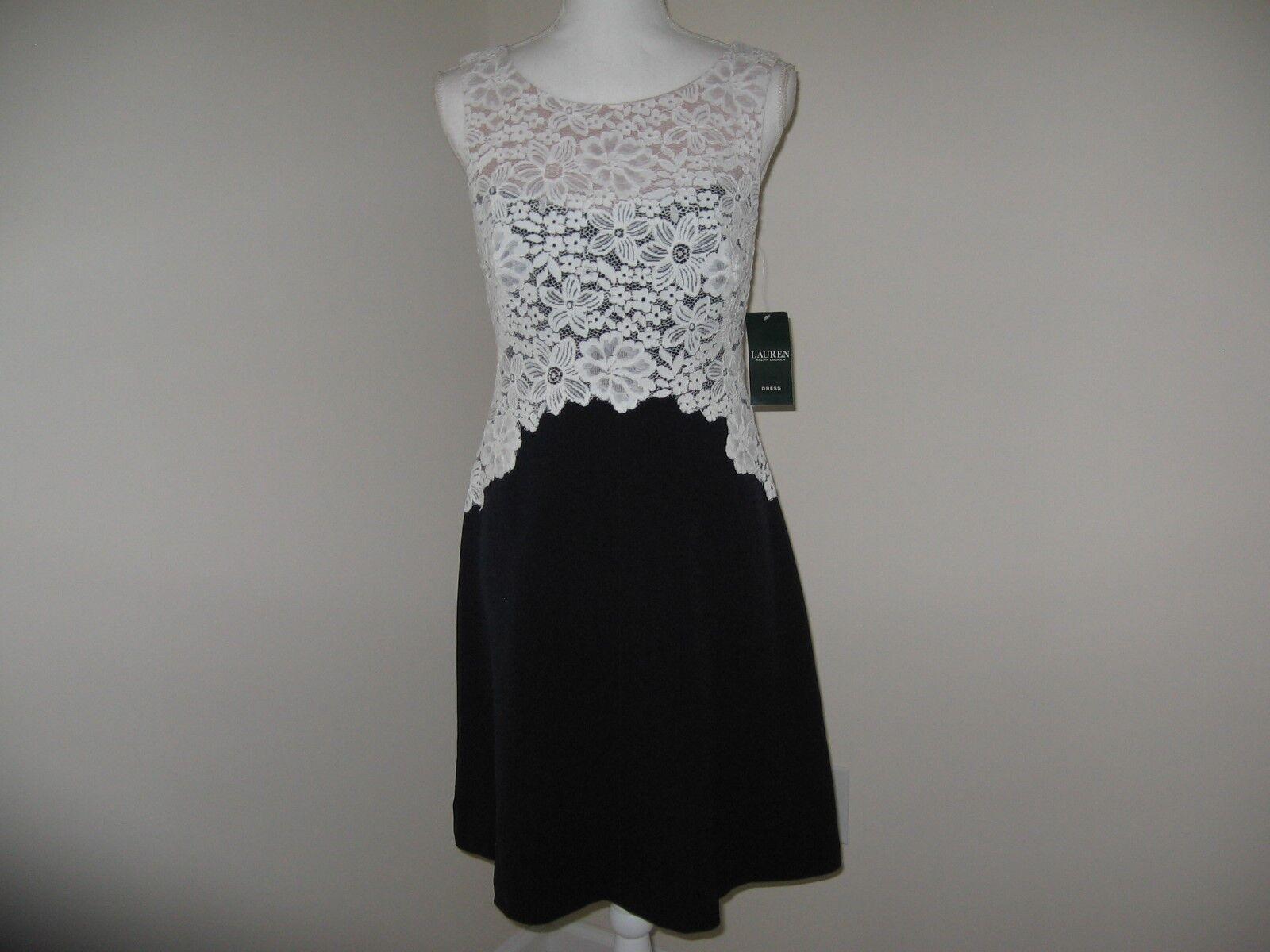 Lauren Ralph Lauren Lace-Bodice Crepe Dress Woman  2 NWT MSRP