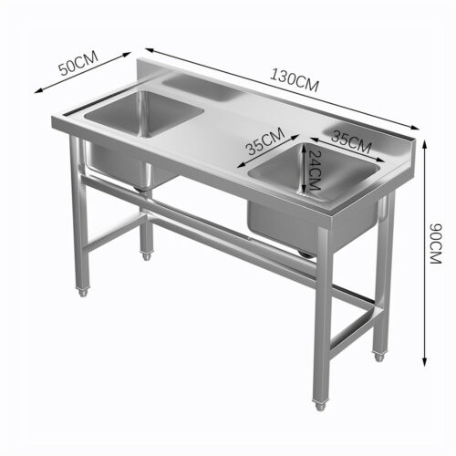 Commercial Catering Sink Stainless Steel Kitchen Double Bowl Wash Drainer Unit