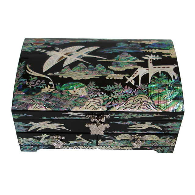 Mother of Pearl Wood Drawer Jewelry Animal Decorative Treasure Box Chest Case