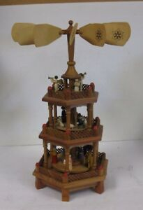 German Wood Christmas Carousel Candles