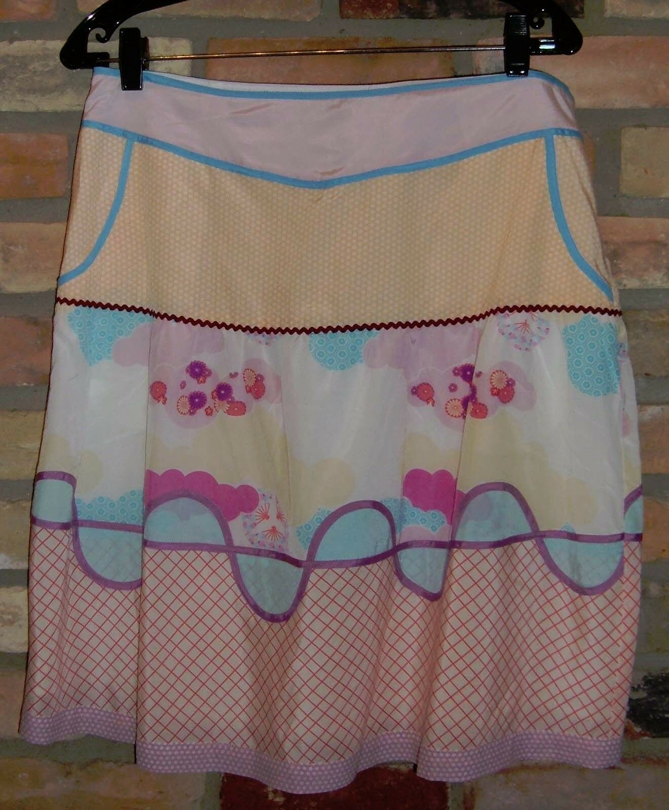 Penguin by Munsingwear multicolor retro vintage silk cotton blend skirt 8 NWT
