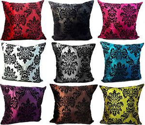 Large Flock Damask Cushion Covers in 9 Lovely Colours Covers