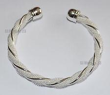 Twist Design Hallmarked Sterling Silver Plated 925 Design Bracelet.