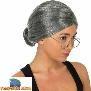 Granny Wig Old Woman Grandma Slick Bun Grey Ladies Womens Fancy Dress Costume