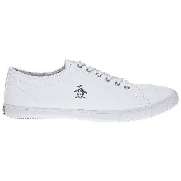 Nuevas zapatillas para hombre Penguin Con Blanco Brewton PU Con Penguin Cordones Plimsolls 7889ff