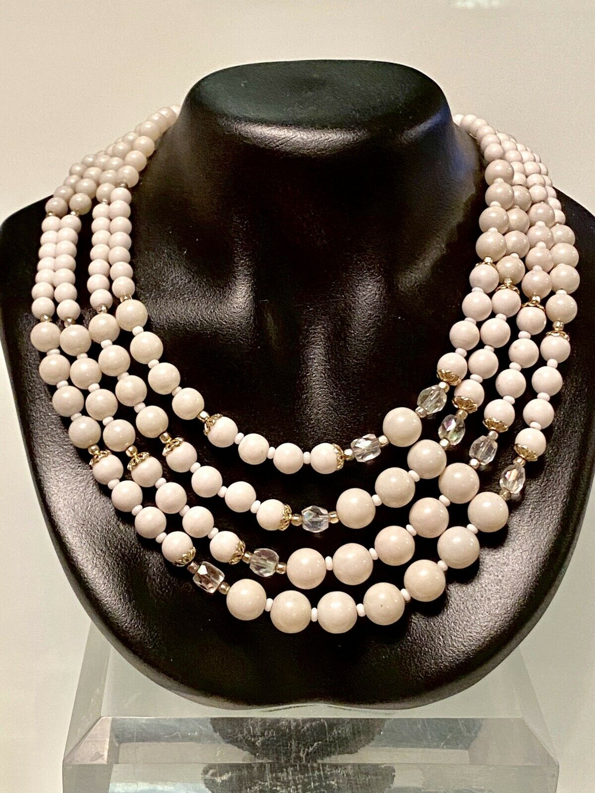 Bridal Vintage 1950s Clear and Pink Beaded 3 Strand Long Necklace