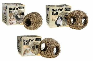 SMALL-N-FURRY-RABBIT-MOUSE-RAT-NATURAL-NEST-N-BALL-GRASS-CAGE-HUTCH-HIDE-3-SIZES