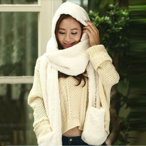 Ladies Faux Fur Winter Warm Fluffy Hood Scarf Hat Snood Pocket Hats Gloves BS